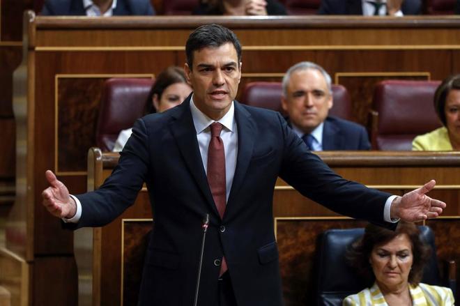 Pedro Sánchez, durante la sesión de control al Gobierno en el Congreso de los Diputados.