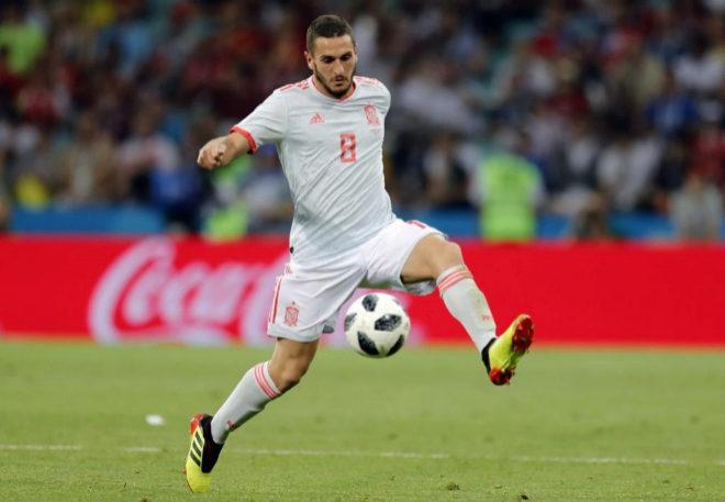 Koke durante el primer partido de la selección española en el...