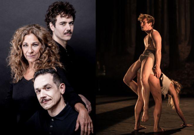 A la izda., Lolita con Luis Luque y Paco Bezerra, el trío responsable de 'Fedra'. A la derecha, el Royal Ballet de Flandes.