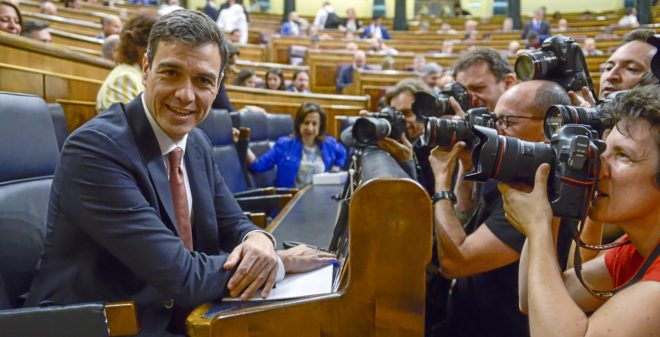 El presidente del Gobierno, Pedro Sánchez, en el Congreso de los...