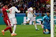 Diego Costa celebra tras marcar el gol de la victoria frente a Irán.