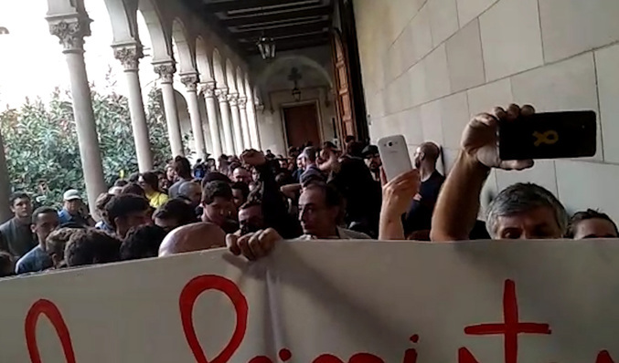 Imagen de la protesta en la UB