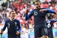 Mbappé celebra el gol de la victoria de Francia ante Perú.