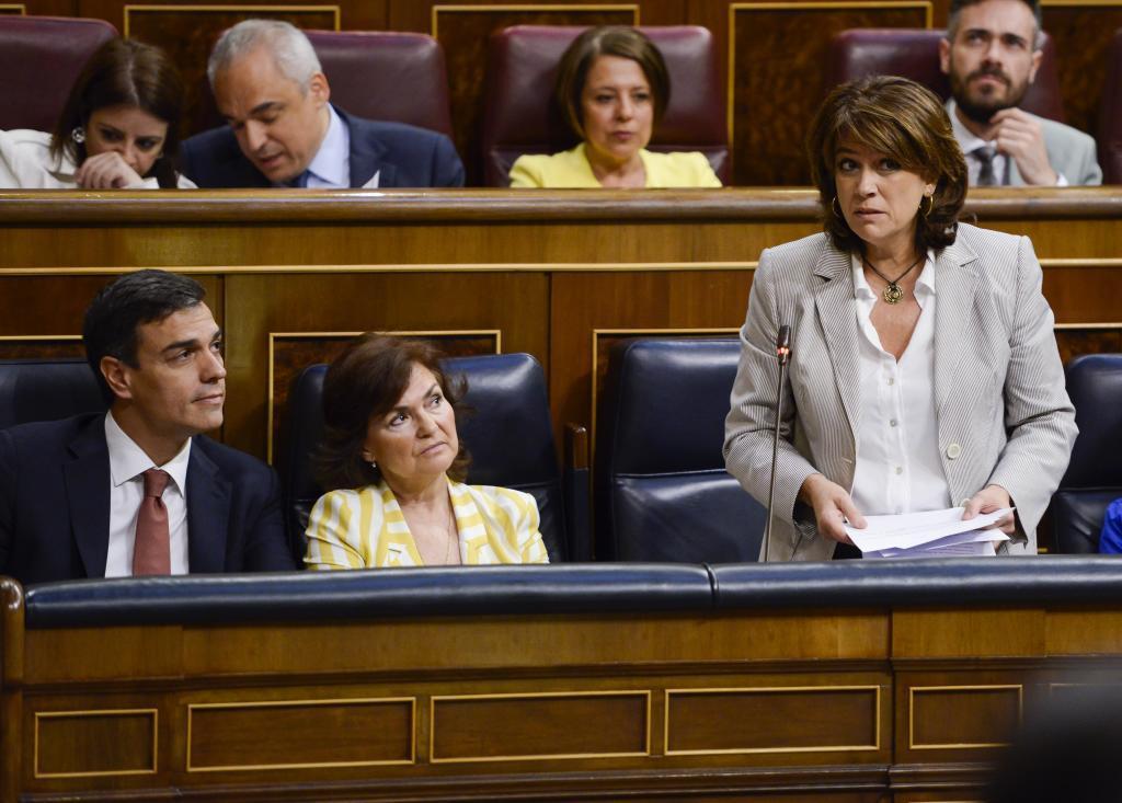 La ministra de Justicia, Dolores Delgado, este miércoles en el...