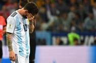 Leo Messi, durante el partido ante Croacia.