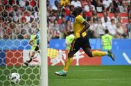 Romelu Lukaku celebra su segundo gol a Túnez, en el estadio del Spartak.