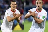 Granit Xhaka y Xherdan Shaquiri (dcha), celebrando sus goles ante Serbia.