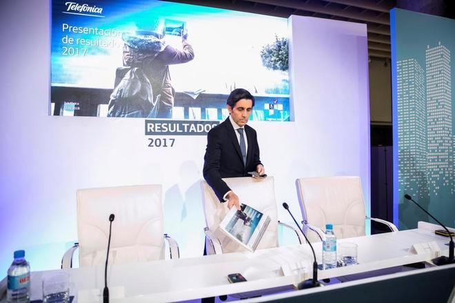 El presidente de Telefónica, José Maria Álvarez Pallete, durante la última presentación de resultados.