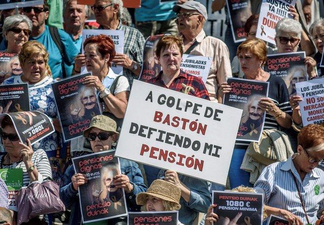 Manifestación de pensionistas jubilados celebrada el Bilbao el pasado mes de mayo.