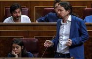 El líder de Podemos, Pablo Iglesias, en el Congreso.