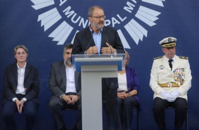 El concejal de Seguridad, Javier Barbero, durante la festividad de la Policía Municipal.
