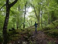 Una senderista atraviesa la conocida como Ruta de la Reconquista.