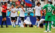 Los jugadores de la selección egipcia celebran el gol ante Arabia Saudí, este lunes.