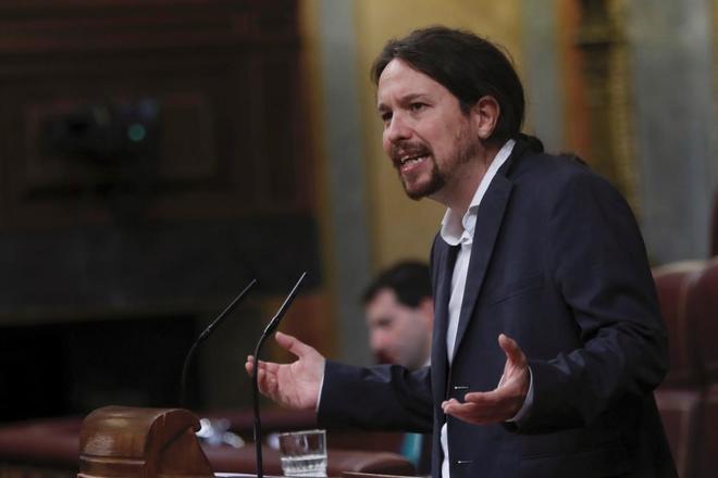 Pablo Iglesias, líder de Podemos, durante su intervención en el Congreso de los Diputados.