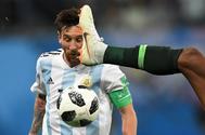 Leo Messi, durante el partido ante Nigeria.