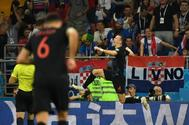 Ivan Perisic celebra el gol de la victoria ante Islandia.