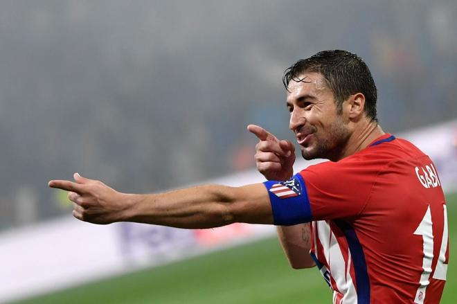 Gabi celebra su gol en la final de la Europa League.