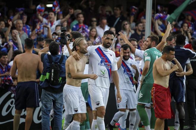 Imagen de la celebración del Extremadura tras su ascenso a Segunda División.