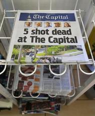 Edición de este viernes del diario Capital Gazette  donde ayer fueron asesinadas cinco personas.