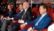 De izquierda a derecha: Luis Rubiales, el Rey Felipe VI, Gianni Infantino y Dmitri Medvedev.