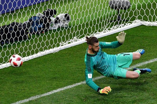 De Gea no puede detener el penalti lanzado por Cheryshev, el domingo.