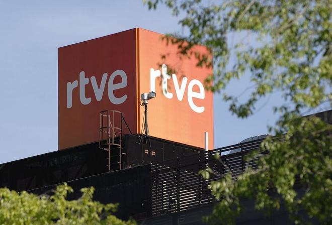 Logo de TVE en la sede madrileña de Torrespaña