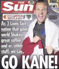 """""""Go Kane!"""" (¿cocaine?): la portada del 'Sun' que enoja a Colombia"""