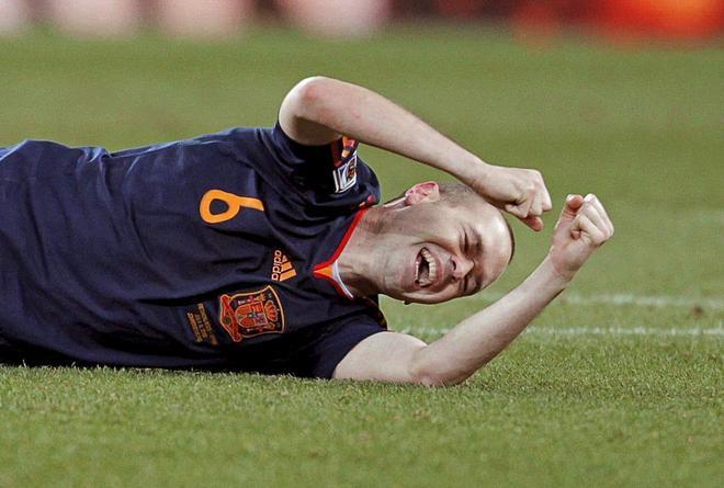 Iniesta celebra el título de España como campeona del mundo en Sudáfrica.