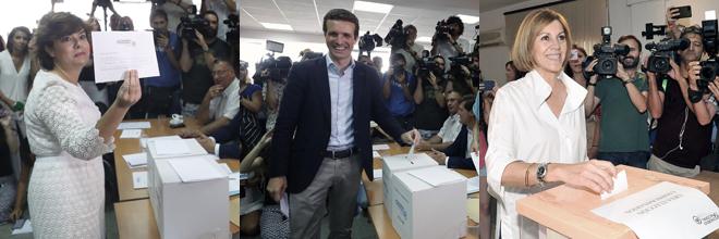 Soraya Sáenz de Santamaría, Pablo Casado y María Dolores de Cospedal, durante la votación.