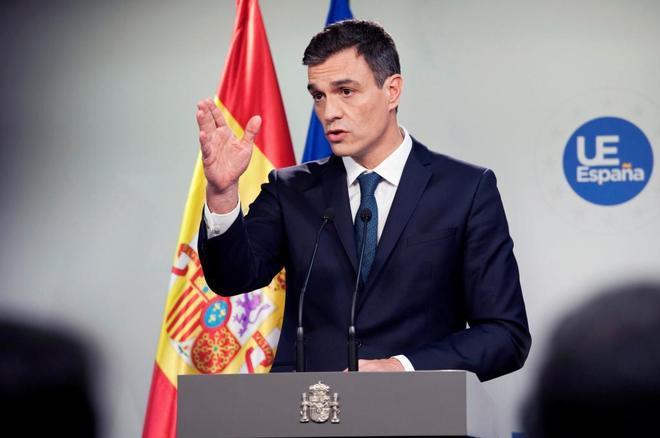 Pedro Sánchez durante una rueda de prensa.