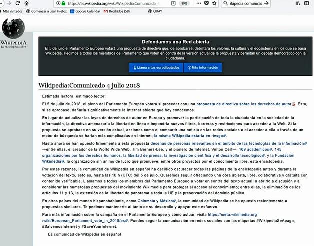 Wikipedia cerró su pagina el pasado 4 de julio con este comunicado.
