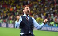 Gareth Southgate, seleccionador de Inglaterra, celebra el triunfo contra Colombia.