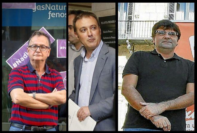 Pascual Pérez, Natxo Bellido y Miguel Ängel Pavón, de Podemos, Compromís y EU en Alicante.