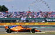 Alonso, durante la sesión clasificatoria del sábado en Silverstone.