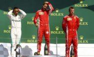 Hamilton, Vettel y Raikkonen, el domingo en el podio de Silverstone.