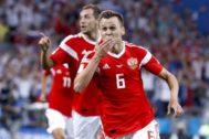 Cheryshev celebra un gol ante Croacia en el el Mundial.