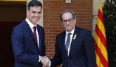 Pedro Sánchez y Quim Torra, juntos antes de su encuentro en La...