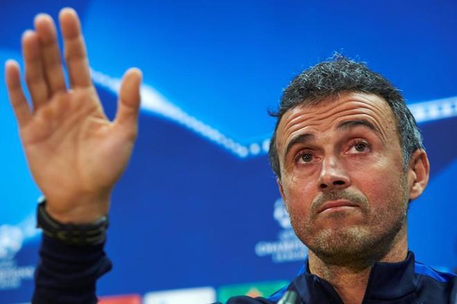 Luis Enrique Martínez, durante una rueda de prensa como entrenador del Barça.