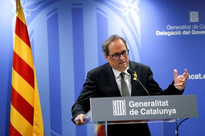 El presidente de la Generalitat, Quim Torra, durante su comparecencia en el centro Blanquerna