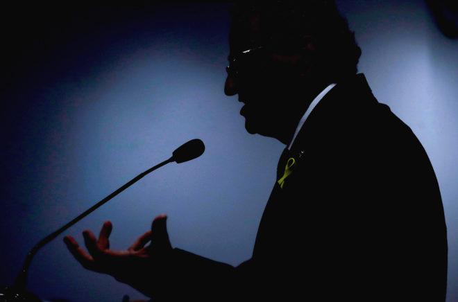 El presidente de la Generalitat, Quim Torra, durante su intervención en Madrid