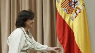 Carmen Calvo, este martes en el Congreso de los Diputados.