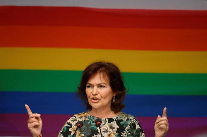 Carmen Calvo durante una intervención reciente.