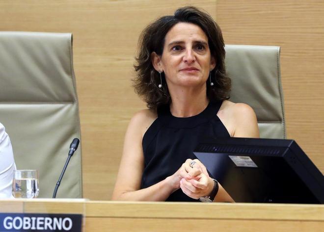 La ministra para la Transición Ecológica, Teresa Ribera, durante su comparecencia en el Congreso.