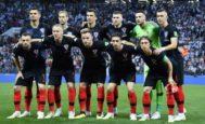 El once inicial de Croacia, antes del inicio de la semifinal en el Luzhniki.