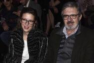 Mencía Morales con Carlos García Revenga en un desfile de la pasarela Madrid Fashion Week