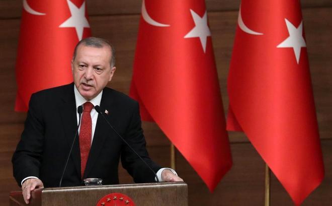 El presidente Erdogan d un discurso en Ankara.