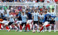 Libre directo de Griezmann en el partido de octavos ante Argentina.