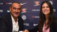 Sarri, junto a Marina Granovskaia, directora del Chelsea.