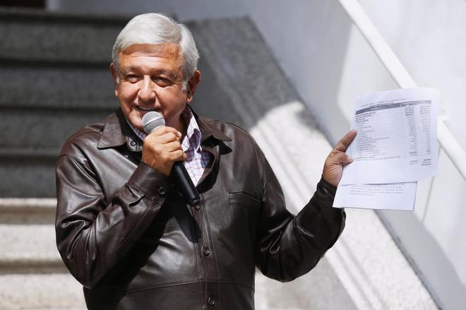 El presidente electo durante una rueda de prensa en Ciudad de México.