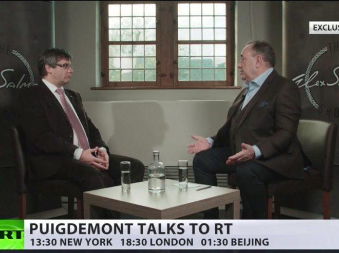 Alex Salmond y Carles Puigdemont, en la entrevista manipulada.
